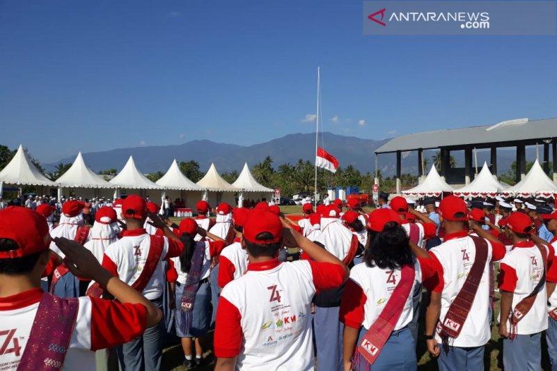 35 peserta SMN Sumut upacara HUT RI di dekat wilayah likuefaksi