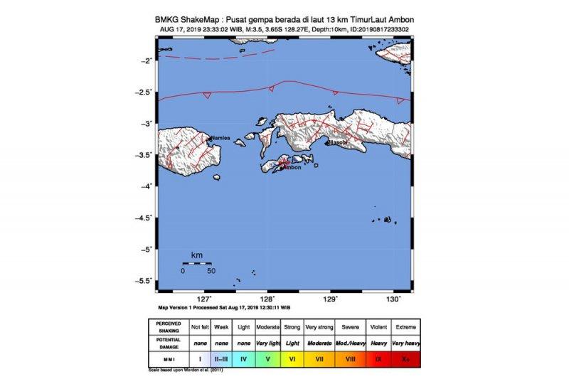 Gempa ringan Magnitudo 3,5 dirasakan di Ambon