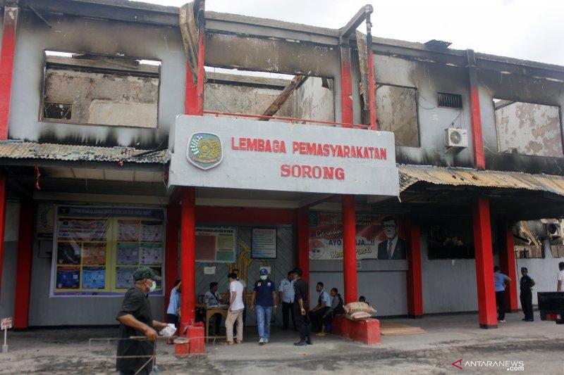 Beginilah kondisi Lapas Sorong yang terbakar