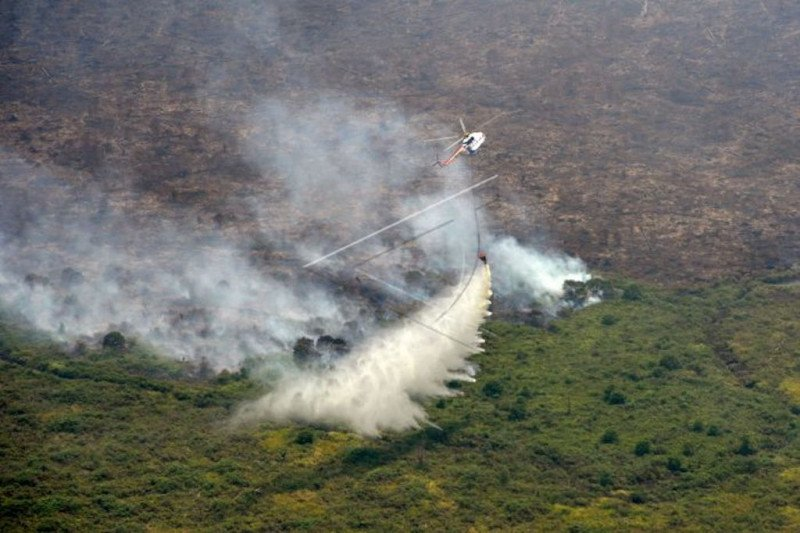Satgas fokus basahi area di  Musi Banyuasin setelah api terkendali