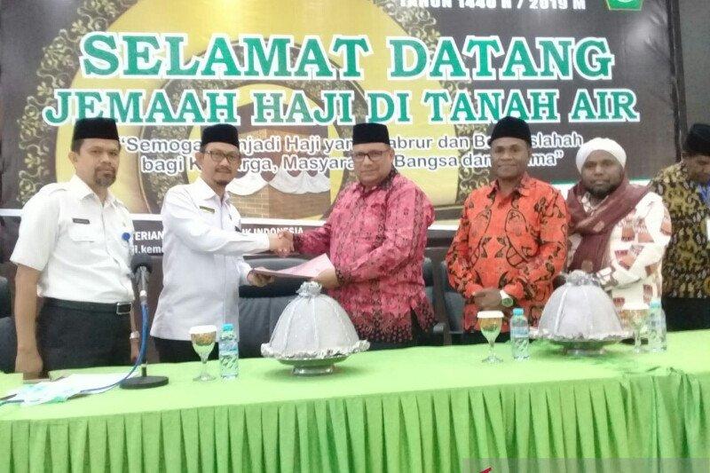 Jamaah haji asal Papua tiba di Makassar