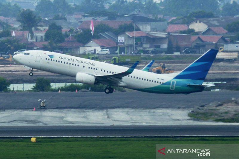 Pesawat Garuda mendarat di Bandara Internasional Kualanamu setelah terbang 39 menit