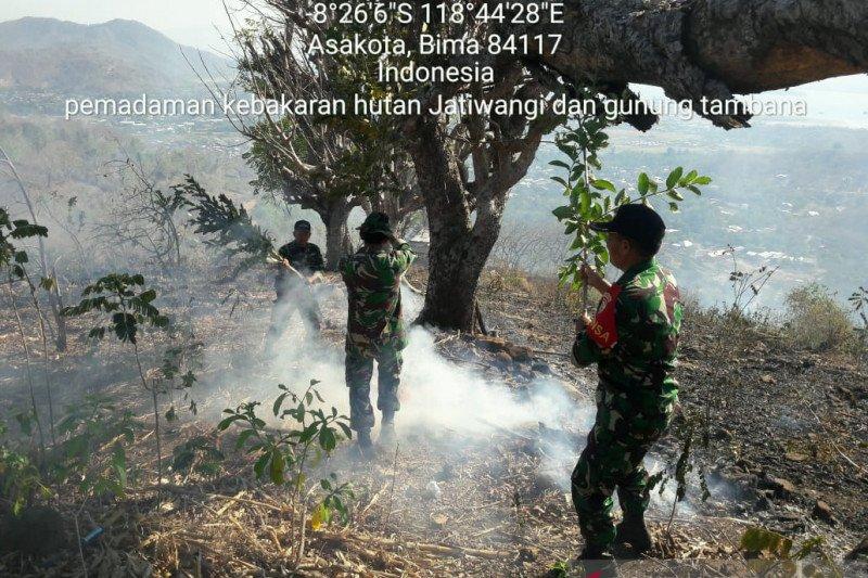 Kodim Bima padamkan kebakaran hutan di Pegunungan Gindi dan Tambana