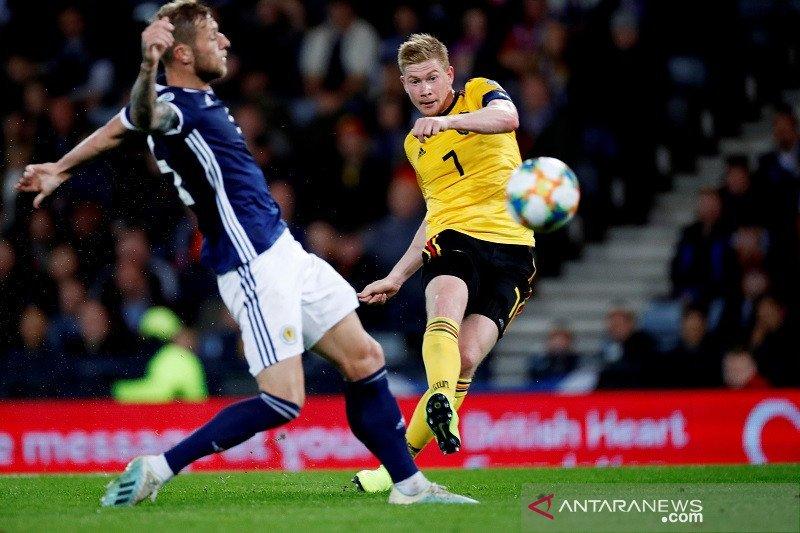 Kualifikasi Piala Eropa -- De Bruyne sempurna, Belgia hajar Skotlandia empat gol tanpa balas