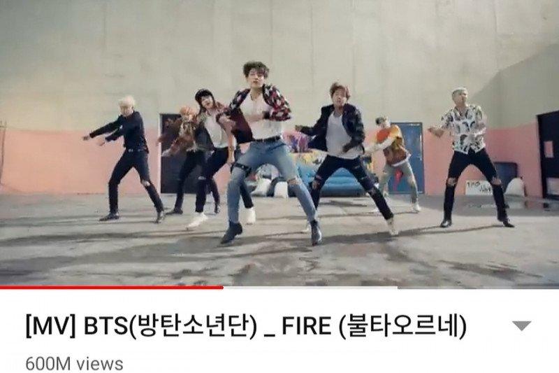 'Fire' BTS berhasil tembus 600 juta kali tayang di YouTube