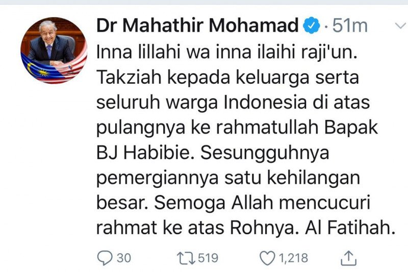 Mahathir belasungkawa atas wafatnya BJ Habibie