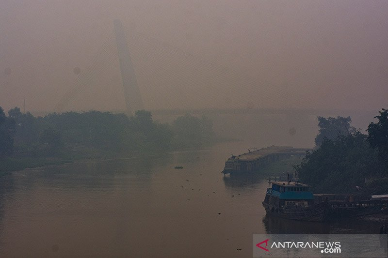 Karhutla Riau -  Jembatan Siak IV Pekanbaru seperti hilang ditelan kabut asap pekat