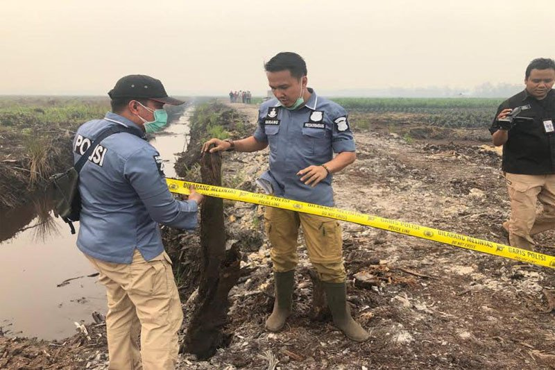 Polisi olah TKP di lahan terbakar milik perusahaan