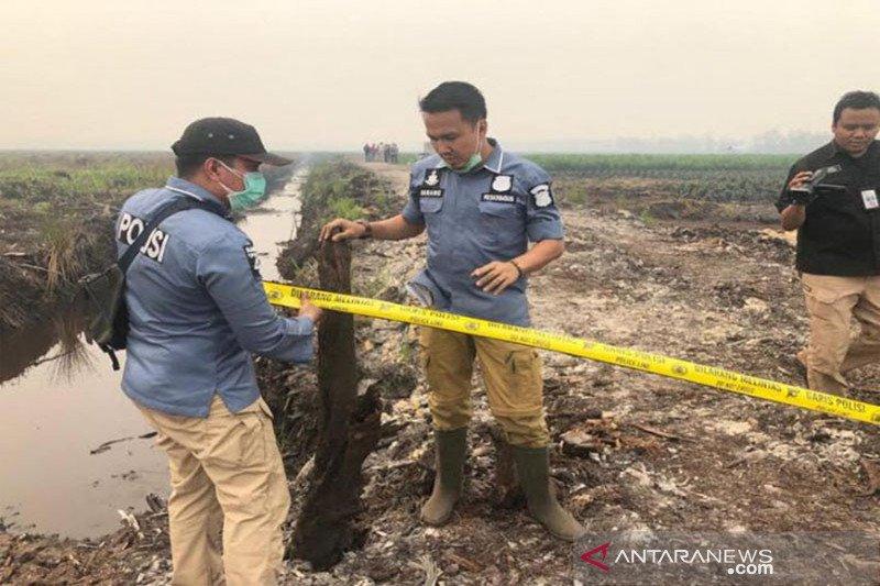 Polisi olah TKP di lahan terbakar milik perusahaan di Kalteng
