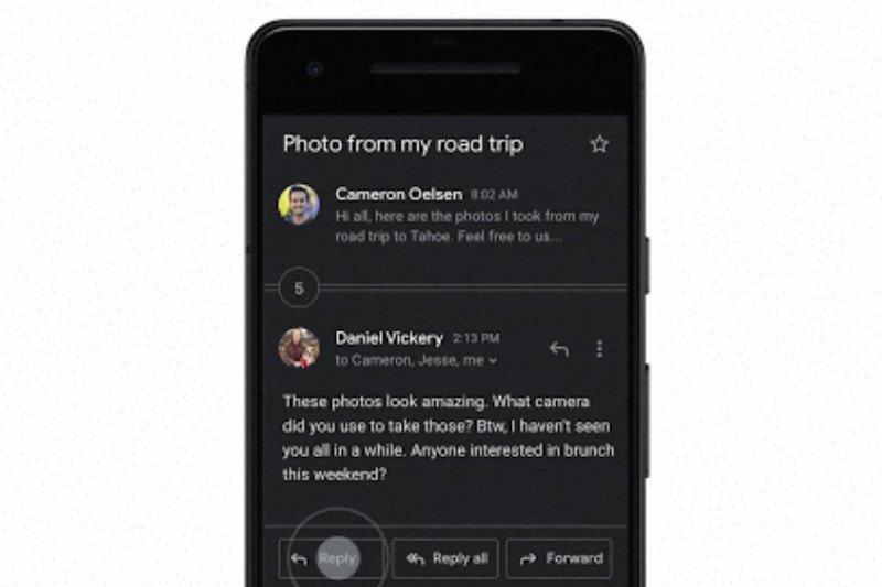 Gmail luncurkan tema gelap di Android dan iOS