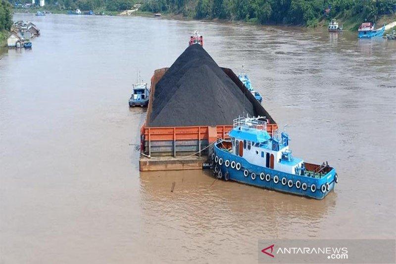 Tongkang batu bara mulai berlayar di pedalaman Sungai Barito