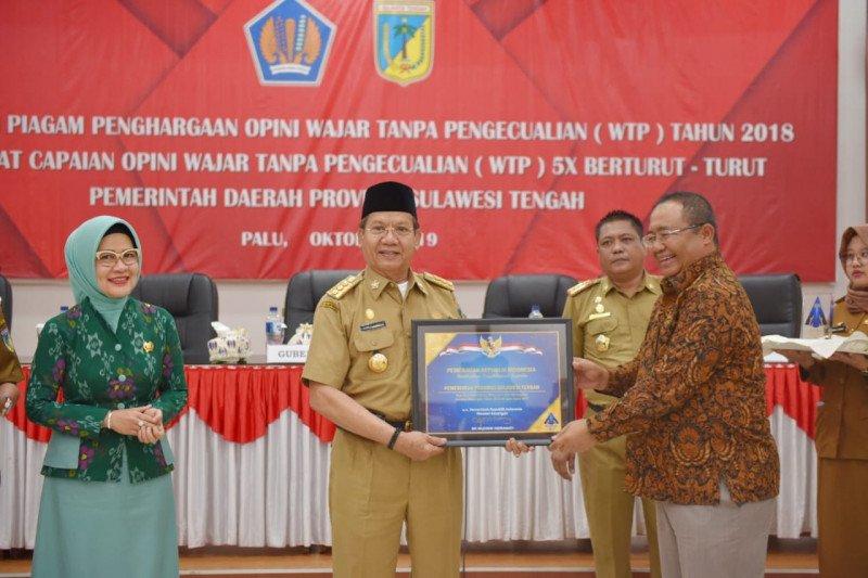Raih opini WTP lima tahun berturut-turut, Gubernur Sulteng terima penghargaan Menkeu