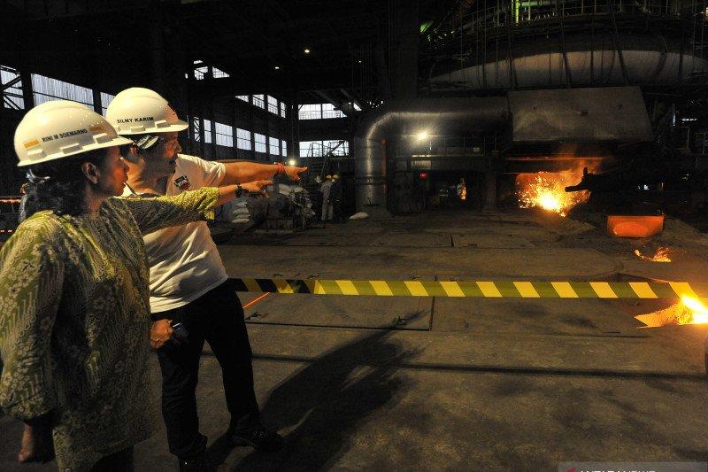 Menteri BUMN tinjau Krakatau Steel