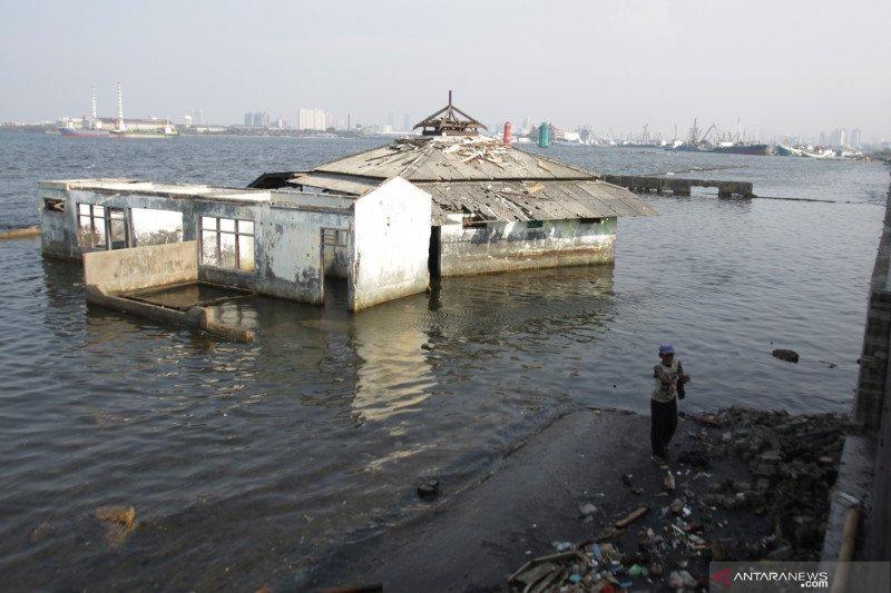 Permukaan air laut Jakarta Utara sampai 1,5 meter di atas tanah