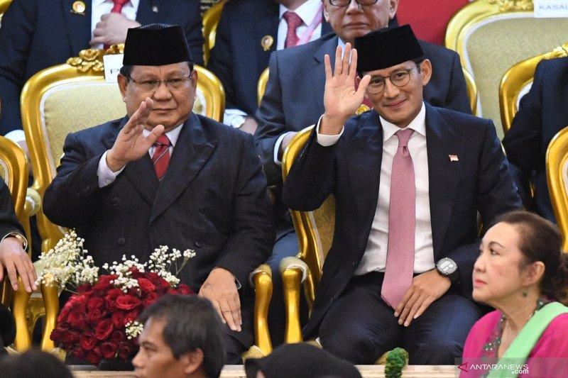 Prabowo dan Sandiga Uno hadiri pelantikan presiden dan wapres