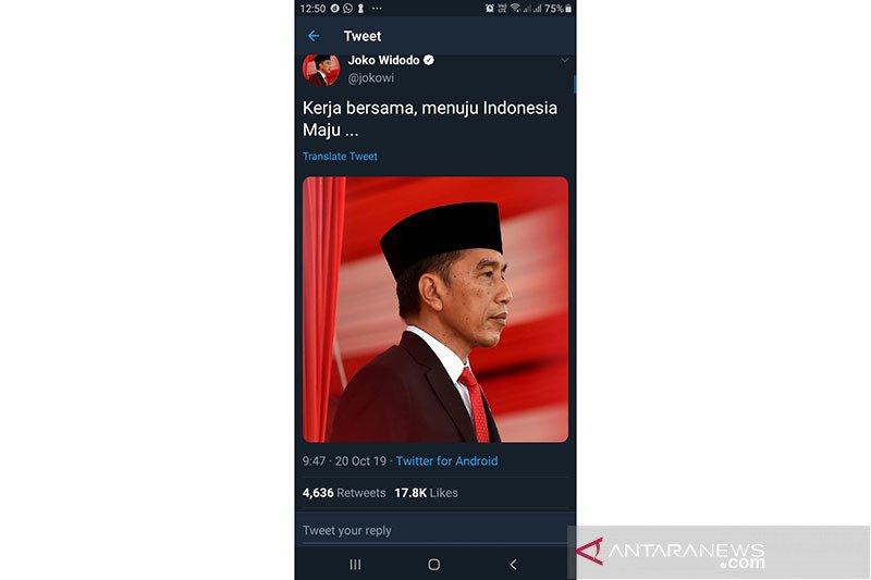 Jelang dilantik, Jokowi mencuit tentang kerja dan Indonesia Maju