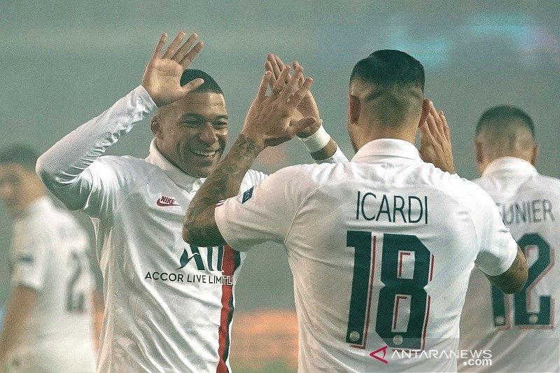PSG cukur Brugge 5-0, Mbappe tiga gol dan Icardi dua gol