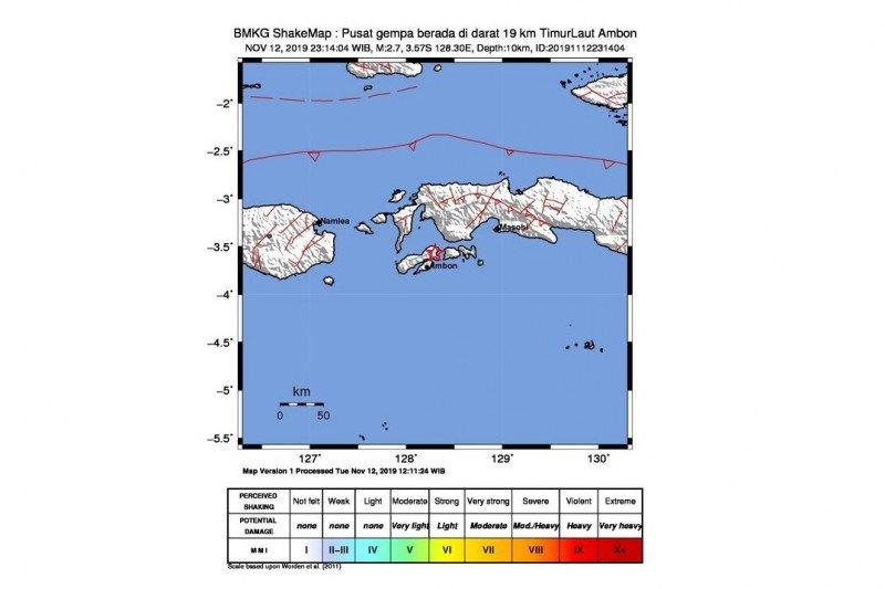 Rabu dini hari gempa 2,7 magnitudo landa Ambon