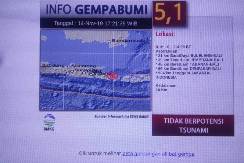 Sebagian warga Jember rasakan getaran gempa bumi di Bali