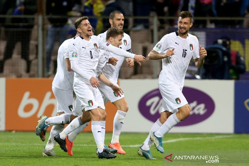 Tanpa kekalahan, Italia kokoh di puncak klasemen grup di kualifikasi Piala Eropa 2020