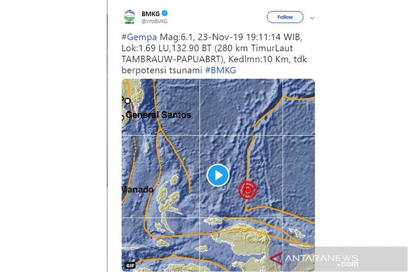 Gempa 5,2 Magnitudo terjadi di Bolaang Mongodow Selatan