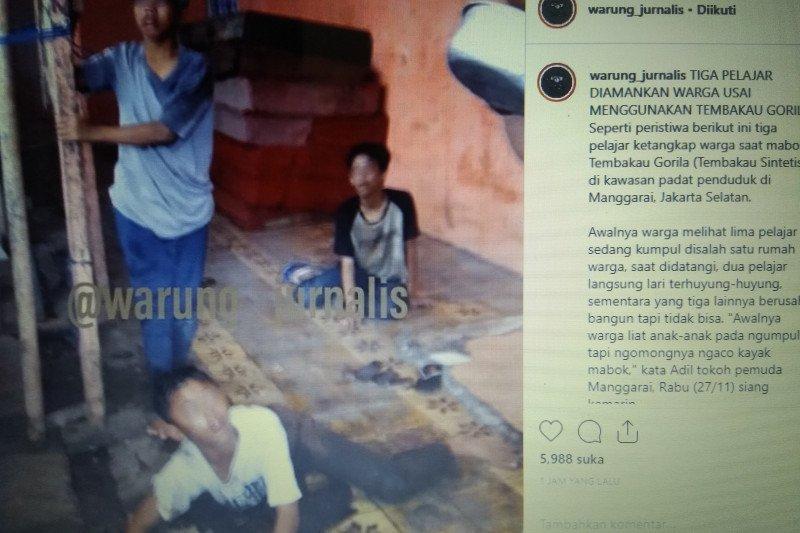 Warga Manggarai mengamankan tiga pelajar konsumsi narkoba gorila