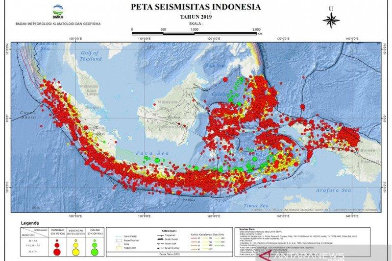 11.573 gempa guncang Indonesia sepanjang 2019