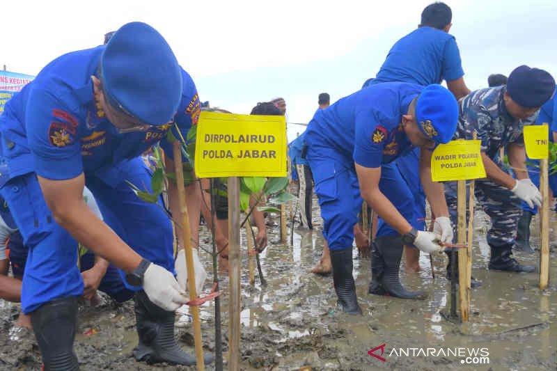 Ditpolairud Polda Jabar tanam mangrove di pesisir Cirebon cegah abrasi