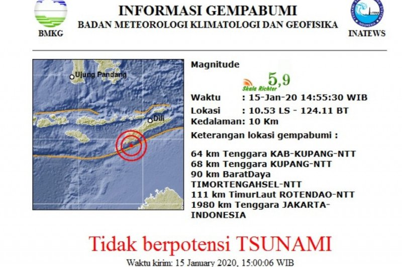 Gempa magnitudo 5.9 mengguncang Kabupaten Kupang