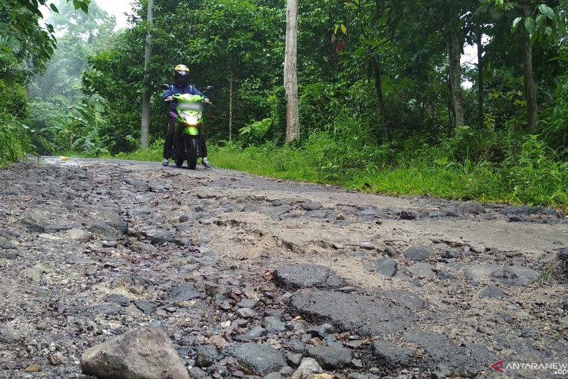 Jalan menuju Desa Muncak Pesawaran rusak parah