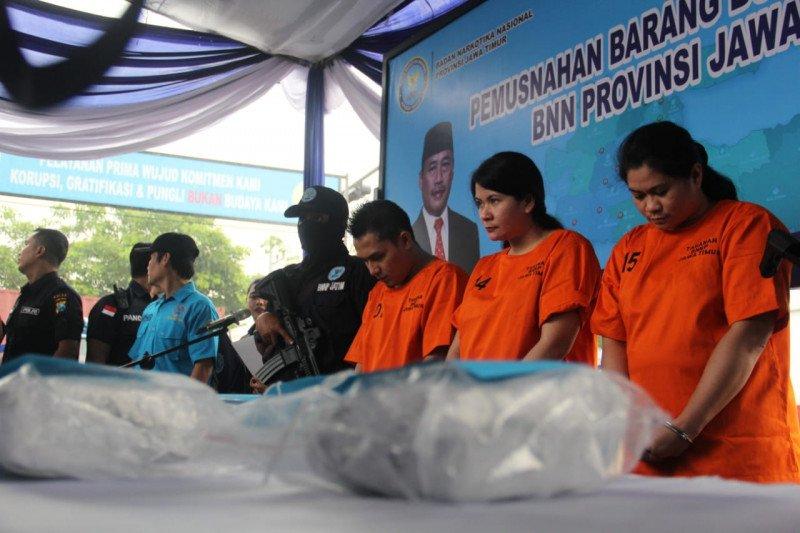 BNNP Jatim musnahkan 8,1 kilogram sabu asal Malaysia
