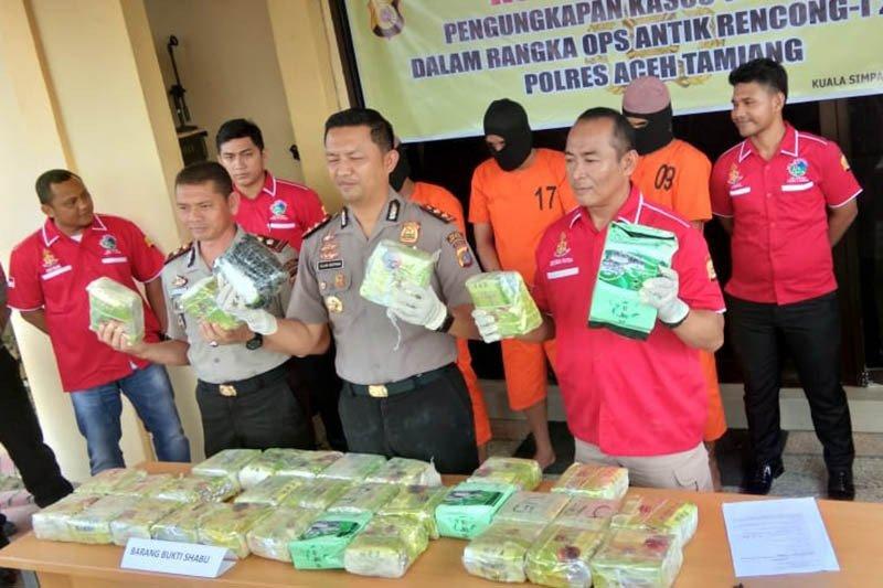 Polres Aceh Tamiang gagalkan penyelundupan 35 kilogram sabu-sabu