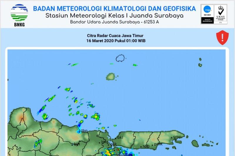 BMKG: Sejumlah wilayah Jatim potensi hujan deras tiga hari mendatang
