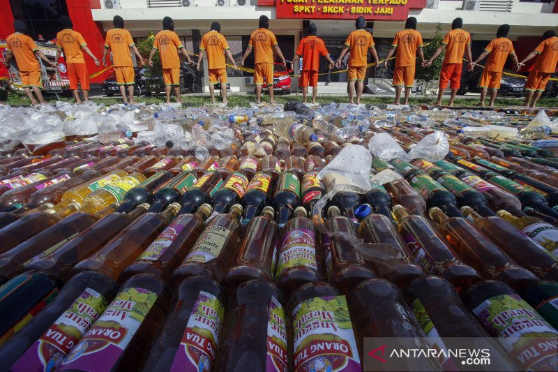 Pemusnahan barang bukti hasil operasi pekat di Polres Bogor
