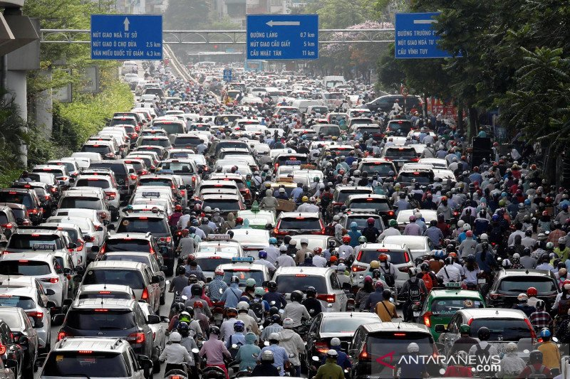 Penampakan kemacetan parah di Hanoi usai pelonggaran karantina wilayah