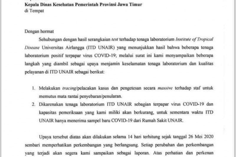 Unair benarkan surat terkait tenaga laboratorium ITD terpapar COVID-19
