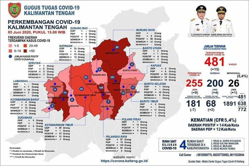 Bertambah 15 orang, positif COVID-19 di Kalteng naik jadi 481 kasus