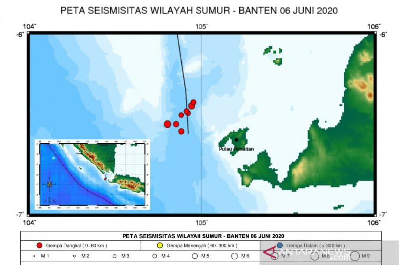 BMKG terus monitor rentetan gempa di Selat Sunda