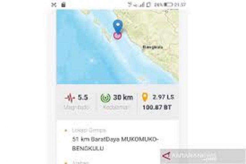 BMKG: Gempa M5,4 di Barat Daya Mukomuko tidak berpotensi tsunami