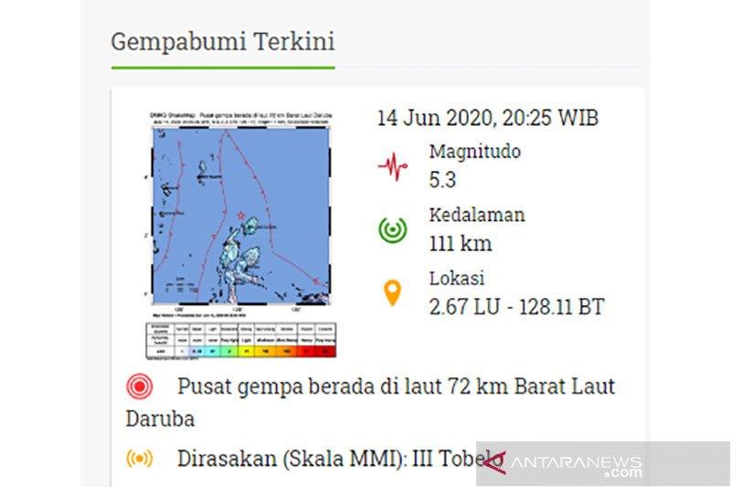 Gempa magnitudo 5,3 guncang barat laut Daruba, Maluku Utara