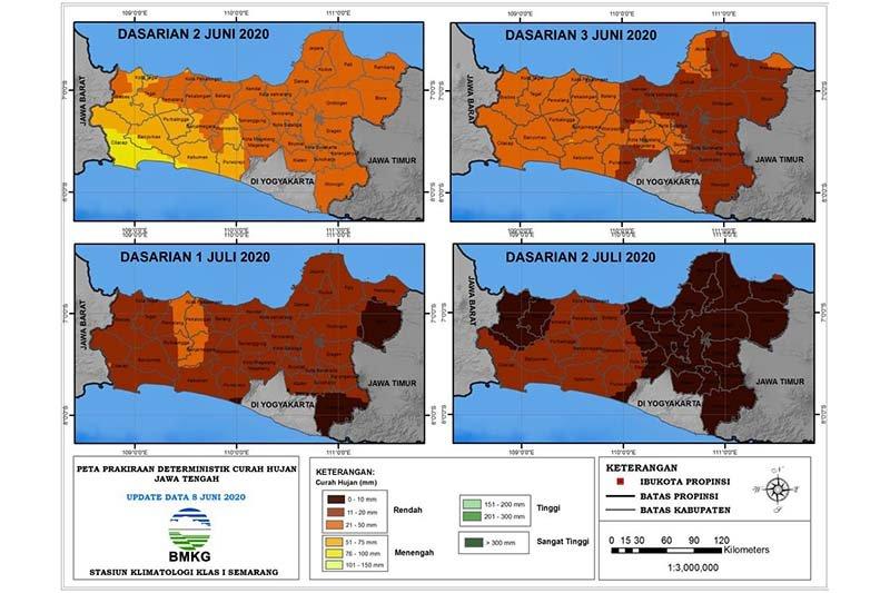 BMKG: Awal musim kemarau di Jateng selatan mundur