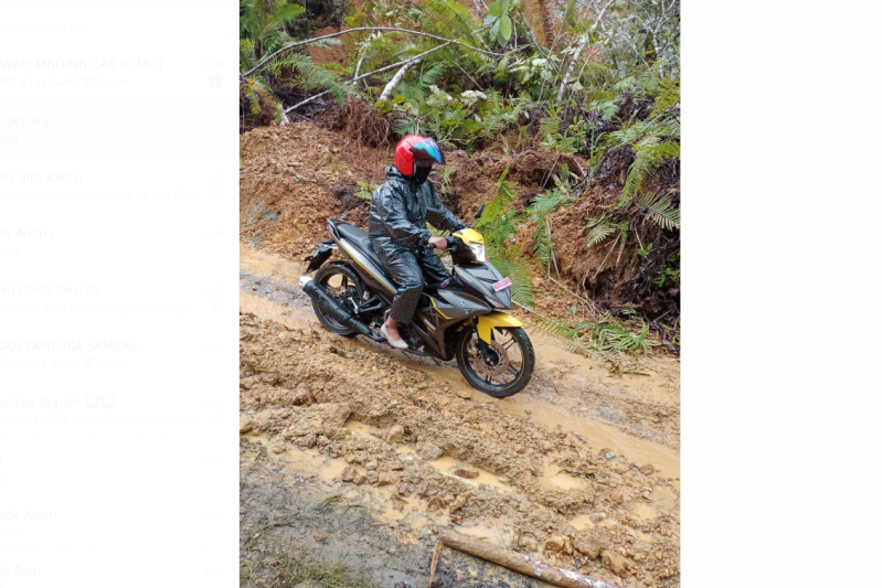 Jalan di perbatasan RI-Malaysia di Kapuas Hulu bisa dilalui kendaraan
