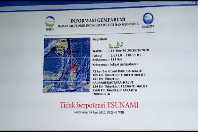 Gempa magnitudo 5,3 Guncang Maluku Utara
