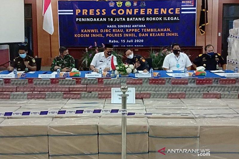 Bea Cukai Tembilahan Riau sita 16 juta batang rokok ilegal