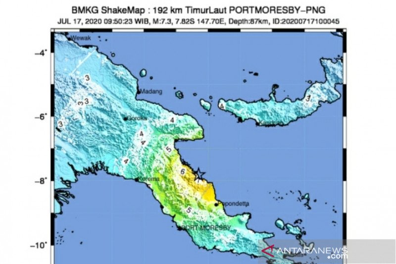 Gempa di Papua Nugini tidak berdampak ke wilayah Indonesia