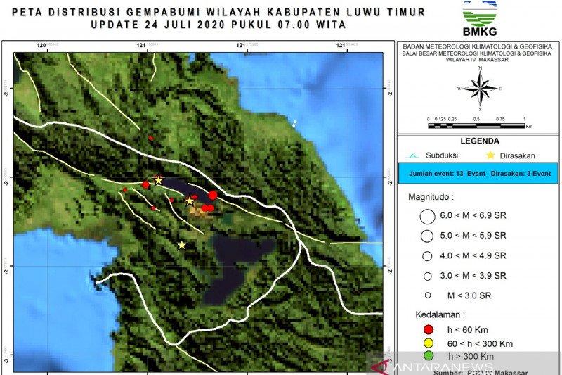 Warga waspadai peningkatan aktivitas gempa di Sesar Matano Luwu Timur