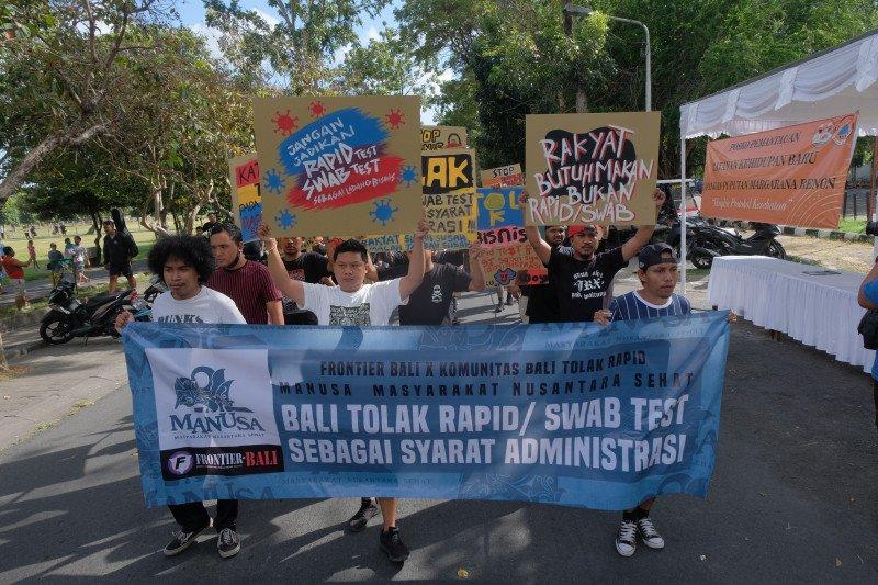 Polisi menilai demo tolak tes cepat dan usap langgar Perwali Denpasar