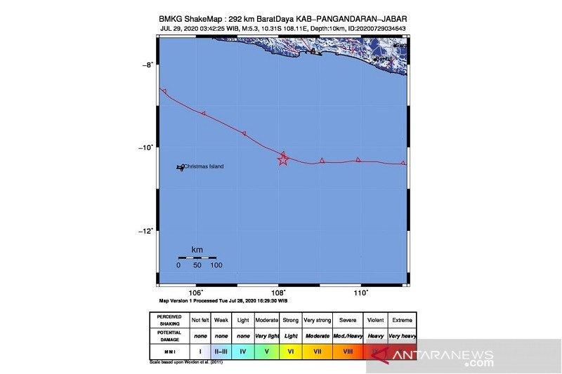 Gempa 5,3 magnitudo guncang barat daya Pangandaran