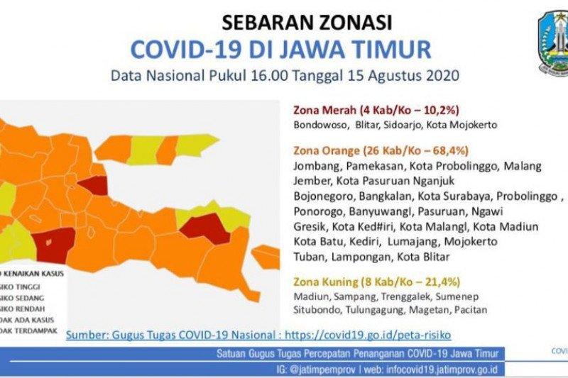 Jatim catat 4 daerah masih zona merah COVID-19