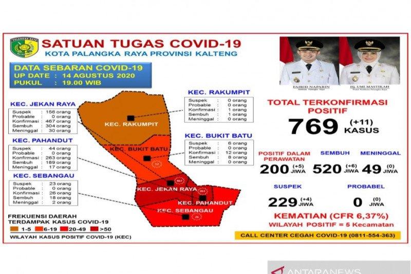 Akumulasi positif COVID-19 di Palangka Raya capai 769 kasus